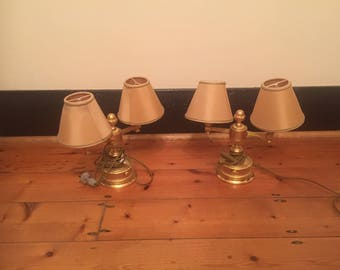 An Important & Rare Pair of 18K Gold Plated Bedside Table Lamps by VERSACE.