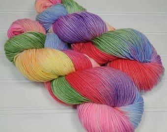 Squishy Sock Yarn, Hand Dyed Yarn, Merino 8 ply, Nylon SW, 420 yards