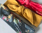 Set of 3 top knot headbands // beautiful prints // baby and adult size headbands// mustard and floral top knot headbands