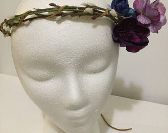 Blue and Purple flower crown