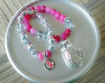Breast Cancer Awareness Bracelet Set (Fight 3)