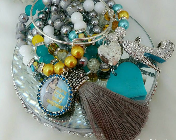 Designer Inspired Heart & Tassel Turquoise mixed Beaded Charm Bracelet Set, Valentine's gifts, birthday gifts, anniversary gifts