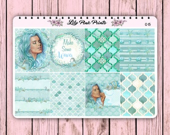 8 Go With the Waves Decorative Full Box Stickers G-15 - Perfect for Erin Condren Life Planners / Journals / Stickers.
