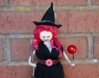Elvira - Wool Felt Witch. Pagan Doll. Wiccan Doll. Sorceress. Felted Wool Folk. Merino wool Witch. Made with Love. Enchanting Witch. Witch