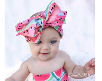 WATERMELLON head wrap, fabric head wrap, baby headwrap, toddler headwrap, headwraps, newborn headwrap, baby headband, fruit headband