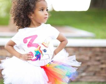 Unicorn Birthday Tutu Set - Rainbow Birthday Tutu Set- Birthday Party Outfit - Unique Birthday Set