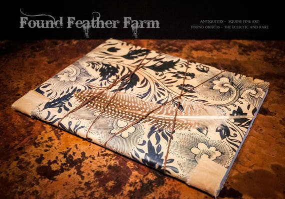 Vintage Style Composition Journal wrapped with a Feather and String