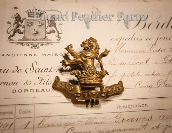 French Antique Brass Lion, Crown and Banner Pin with an Antique French 1906 Document