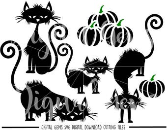 Halloween Black Cats and pumpkin svg / dxf / eps / png files. The files work well with Silhouette and Cricut. Digital Download.