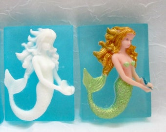 MERMAID soap -Glycerin and Baby Buttermilk soap- white or painted mermaid, ocean / beach/ nautical, novelty soap,