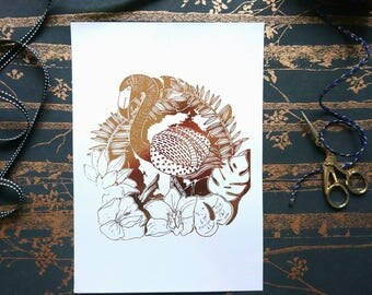 Rose gold foil, A4 art print, foil print, flamingo, foil flamingo