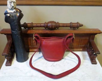 Spring Sale Coach Maggie Duffle In Red Leather With Brass Hardware- Style No 9019 - Made In United States- GUC