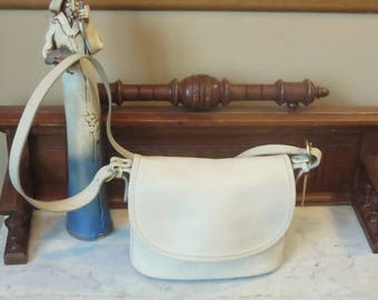 Coach Fletcher Bag In Bone Leather With Original Coach Box And Tissue - Style No 4150 - Made In U.S.A. - GUC - Slightly Distressed