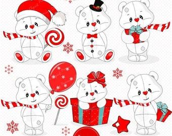 80% OFF SALE Christmas clipart, Christmas teddy clipart, Teddy clipart, Christmas clip art, Christmas digital graphics - SEA111