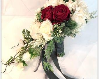 Marsala red bouquet, cascade bouquet.NEW 2017!