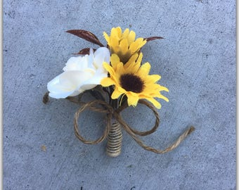 Sunflower groom boutonniere, rustic wedding boutonniere.