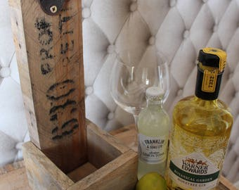 Gin and Tonic Bottle Opener-Wall Mounted-Rustic Solid Reclaimed Wood Pallets & with(out) Tonic cap catcher-Ladies,Mom,Bridesmaid,Friend Gift