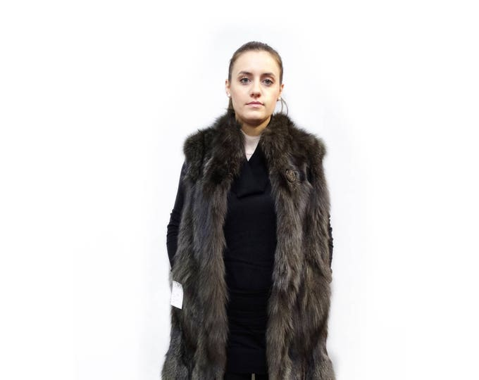 Long Fox Fur Vest Unique color F339
