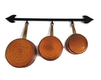 set of 3 vintage decorative copper saucepans, small hanging set