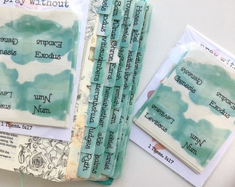 Bible Tabs Light Teal Blue Watercolor Spill Tabs ~ Preprinted with adhesive ~ 56 tabs