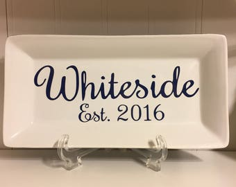 Last Name Home Decor Plate With Stand