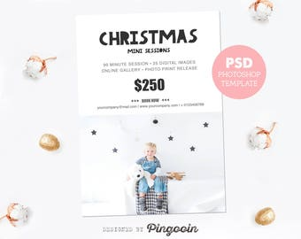 Mini session template. Holiday minis. Christmas session. Marketing board template. Social media board. Editable Photoshop PSD file. MS029