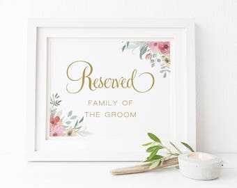 Pink and Gold Flower Wedding Reserved Sign, Printable Floral Wedding Sign, 5x7 and 8x10inch, Peach Perfect Australia