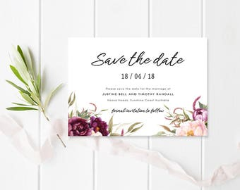 Floral Wedding Save the Date Card, Digital Printable or Professionally Printed, Watercolour Flowers, Commercially Printed, Justine Suite
