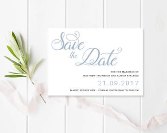 Blue Modern Wedding Save the Date Card - Script Calligraphy, Monogram - Free Colour Changes - Peach Perfect Australia