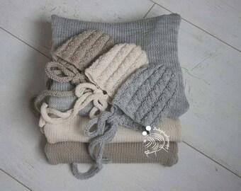 Newborn photography prop, Newborn wrap,Newborn bonnet,Wraps,Bonnets,Photoprops,Photography props,Newborn props,Knitted wrap,Knitted bonnet,