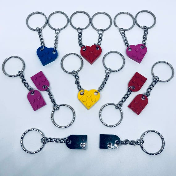 2PC Heart Lego Plate Keyring