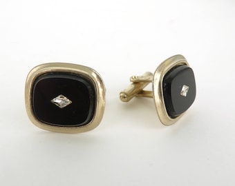 60s black glass cuff links with faux diamond, silver metal cuff links,  1960s mad men cuff links mens cufflinks mens jewelry mens cuff links