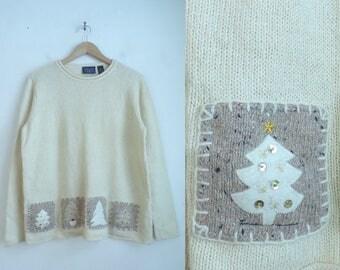 christmas tree sweater cream knit sweater applique holiday sweater minimalist crew neck xmas sweater womens jumper large petite