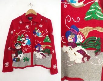winter snowman sweater 90s knit christmas sweater beaded snowflake zip up collared embroidered sweater womens jumper small/medium petite