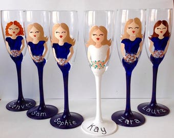 Wedding Glasses/ Painted Glasses/ Wedding Gift/ Bridal/ Champagne Flute/ Wine Glass / Unique / Personalized / Wedding Glasses / Bridesmaids
