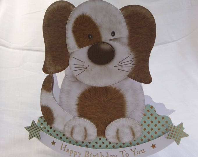 Puppy Rocker Wobble Head Birthday Card, Greeting Card, Brown and White Puppy, Boy or Girl, Any Age
