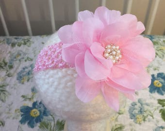 Crocheted flower headband with rhinestone appliqué