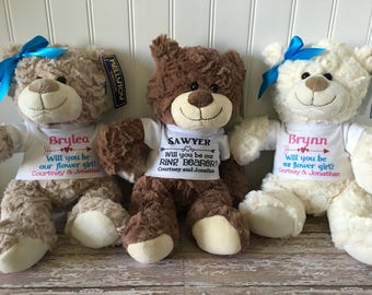 Will you be our flower girl teddy bear // will you be our ring bearer teddy bear // wedding gift stuffed animal plush