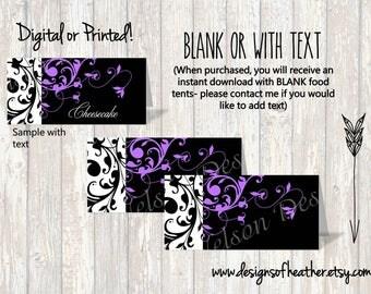 Purple Scroll Wedding Digital Food Tents/Place Cards