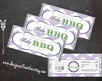 Purple and Green Baby Girl BBQ Digital Candy Bar Wrapper