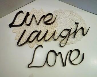 Live Love Laugh Metal Words Wall Decor, Live Love Laugh Metal Wall Hanging,  Live Part 94