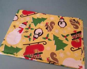 cotton fabric patterned snowman snow on yellow background