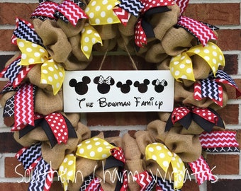 Natural Burlap Disney Family Minnie Mickey Personalized Wreath