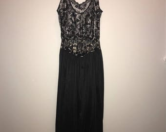 Vintage 70's Black Lace Floor Length Nightgown / size small / by Undercover Wear