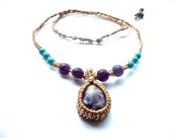 Beautiful small amethyst and turquoise macrame necklace, healing, crystals