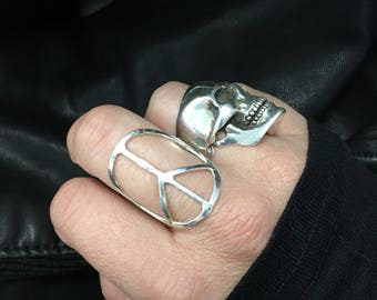 Sterling Peace Sign Ring