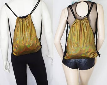 Holographic Gold Festival Burning Man Backpack Drawstring Bag for Men or Women