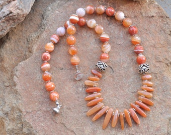 Womens fashion orange statement modern necklace - agate necklace gift for her