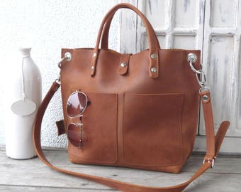 Small leather shopper, leather bag woman, tote bag, leather tote, crossbody bag, real cowhide full grain leather, Lou Frontpocket - cognac!