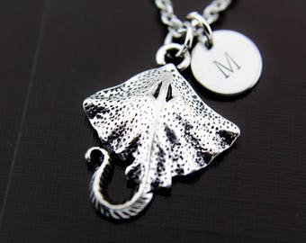Stingray Necklace, Manta Ray Necklace, Stingray Charm, Shark Necklace, Ocean Jewelry, Personalized Necklace, Initial Charm Initial Necklace